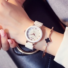 Fashion brand Ceramic Watches White Csaual Waterproof Quartz Watch Rhinestone Crystal Wristwatch For Women Clock montres femmes