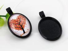 5pcs 18x25mm Inner Size Black Simple Style Cameo Cabochon Base Setting Charms Pendant necklace findings (C1-06)(China)