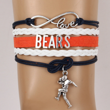 Infinity Love Chicago State Bears NFL Football Team Bracelet Customize Sport friendship bracelets & Bangles Leather Jewelry
