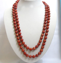 "Stunning! long 53"" 12mm red sponge coral necklace"
