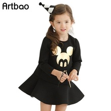 New space cotton fabric girls casual minnie dresses 2016 solid black minnie print clothes for girls
