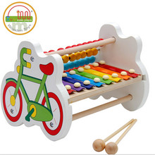 Fancy toy bicycle bead octave piano hand xylophone knock wooden frame calculation of preschool education Toy Musical Instrument