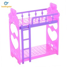 LeadingStar Plastic Double Bed Frame For Kelly Barbie Doll Bedroom Furniture Accessories Purple Pink Or Pink Yellow Color Random(China)