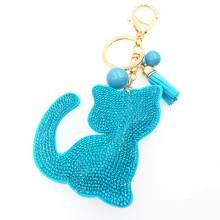 New key female cute key chains key covers the Rhine stone Mosaic leather fringed cat key cap gift 10 color free shipping