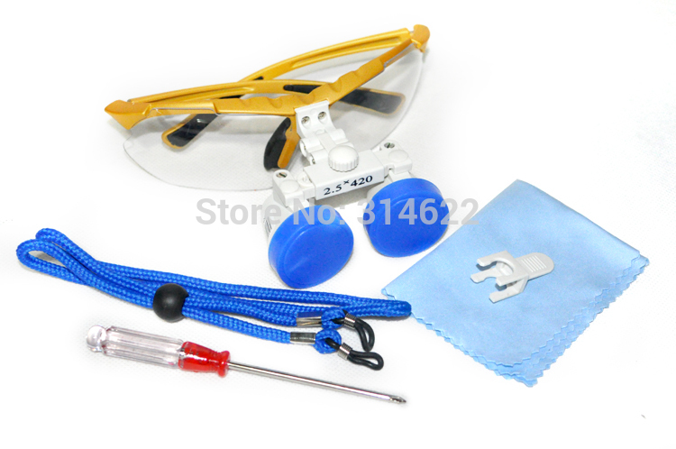 New Model Dentist Yellow Dental Surgical Medical Binocular Loupes 2.5X 420mm Optical Glass Loupes free shipping<br><br>Aliexpress