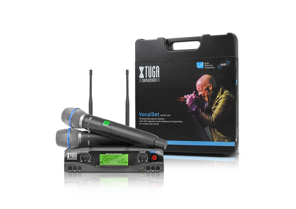 XTUGA audio UHF Wireless Microphones with Screen Distance 2 Channel Headset Mic System Stage Karaoke Bar Party Church