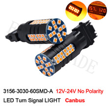 2Pcs T25 3156 P27W LED Bulbs 3030 Chips 60 SMD Canbus No Error No Hyper Flash Car Brake Turn Signal Light Amber Orange Lamps(China)