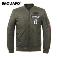 SAGUARO Autumn Winter Jackets Men Fashion Patch Design Pilot Bomber Jacket 2017 Thicken Flight Windbreaker for Men Clothing Coat(China)