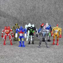 11-13cm 8pcs/lot Real Steel PVC Figures Action Toys Collection Model Doll Children's Gifts Toy Doll With Light