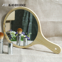 Gohide Simple Rustic Style Pure Wood Cosmetic Mirror Wooden Handle Cosmetic Mirror Super Round Table Dressing Mirror