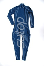 Buy latex rubber catsuit crotch zip neck enter high quanlity level Real Photo blue color