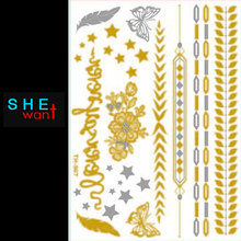 2017 Direct Selling Hot Fashion Girl Hair Tattoo Latest Golden Body Sticker Temporary Tattoos Accessories