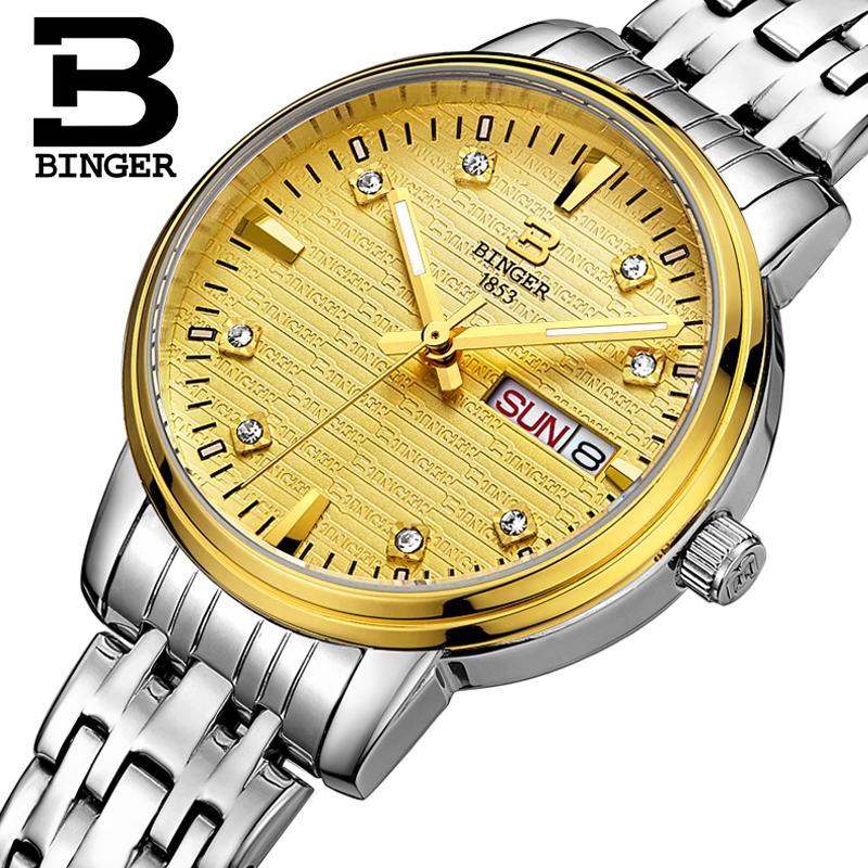 Switzerland Binger Womens watches fashion luxury clock ultrathin quartz glowwatch full stainless steel Wristwatches B3036G-3<br>