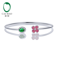 Caimao Jewelry 0.68ctw Oval Natural Emerald & 0.18ct Ruby 0.11ct Pave Diamond 18K White Gold Gemstone Bracelet(China)