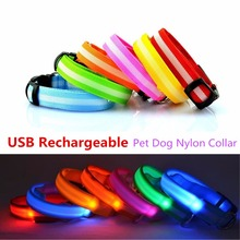 G89 New USB Rechargeable Pet Dogs LED Collars Nylon Collar Night Safety Glow Flashing Collar for Puppy Dog Cat Led Luminous(China)