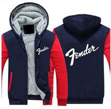 Dropshipping Guitar brand Fender Logo Men Women Zipper Hoodies Fleece Thicken Music Fans Fashion Jacket Sweatshirt Coat(China)