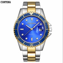 Top Fashion Classic Brand Blue Gold Watches Men Quartz Sport Watch Watchcase Number Stainless Steel Gift Clock Relogio Masculino(China)
