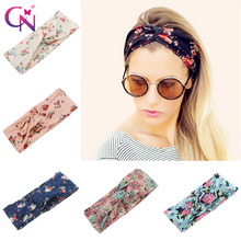 Fashion Floral Fabric Cross Headband For Women Girls Bohemia Elastic Flower Printed Hairband Turban Hair Accessories Headwrap(China)
