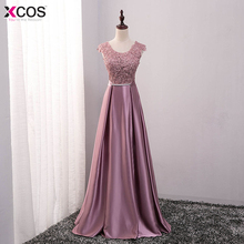 Appliques Lace Long Prom Dresses 2017 Dust Pink Scoop Formal Evening Party Dresses Vestido De Festa