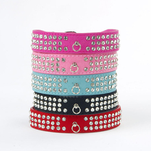 Bling Pet Dog Collars 3 Row Rhinestone Pet Puppy Cat Fashion Necklace Dog Leads And Collars For Small Dogs Collar Led(China)