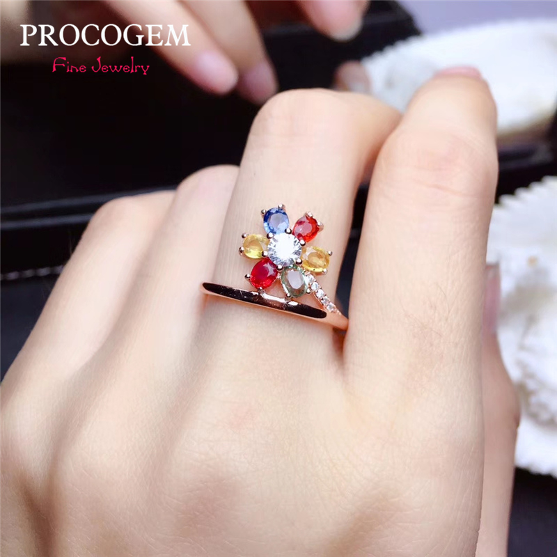 New 5A Natural Romantic Tourmaline Flower Rings for Women Party Engagement 3x4mm Genuine gemstones Fine jewelry S925 Silver #459