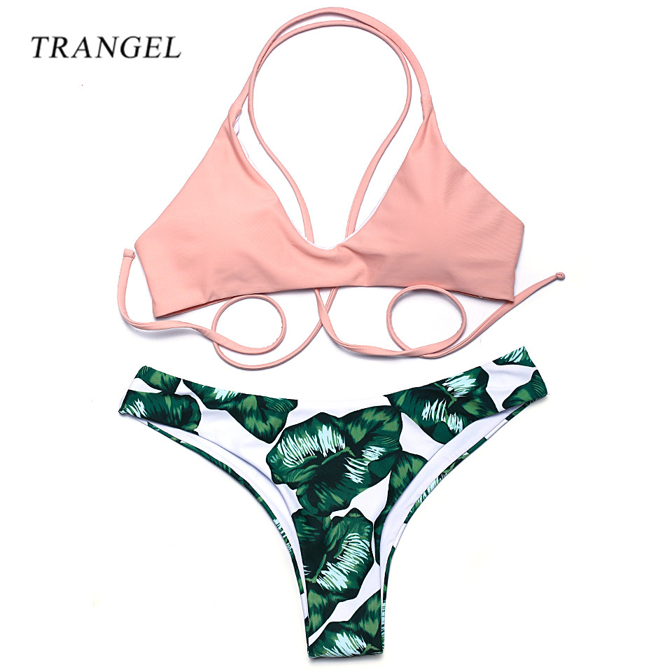 Trangel bikinis women 2017 Swimwear Sexy bikini Brazilian halter top Swimsuit printing Bathing Suit Bikini Set LD008<br><br>Aliexpress