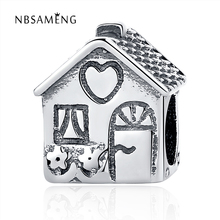 Authentic 925 Sterling Silver Bead Charm Cute Love Heart Family House Beads Fit Original Pandora DIY Bracelets & Bangles Jewelry