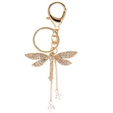 Wholesale Portable Keychain Fashion Dragonfly Crystal Keyring Charm Pendant Purse Bag Key Ring Keychains Gift New 2016