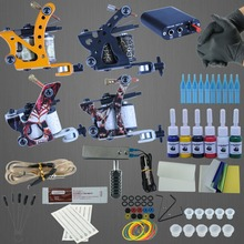 1 Sets Complete 4 Gun Tattoo Kits Professional Machine Equipment+6 Color Ink+Needles+Power Supply Complete Tattoo Machines Kit