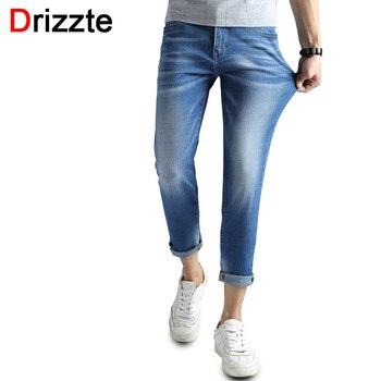 Drizzte tornozelo calças de brim dos homens luz azul lavar jeans branco magro Fit Calças Jeans Calças Jeans para Homens Conforto Macio para homens
