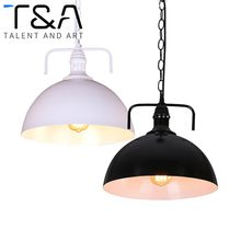 Retro American Country Style Restaurant Loft Cafe Kitchen Industrial Lighting Iron Warehouse Pendant Light Black/White Lampshade - CAIYI Store store