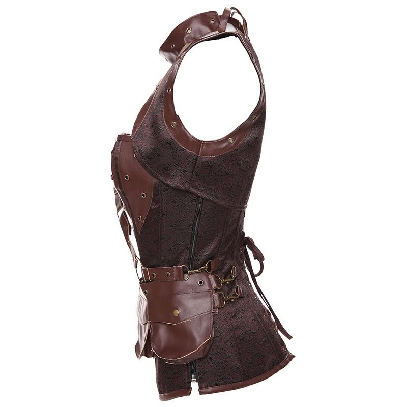 Plus Size 6XL Punk Corset Faux Leather Steel Boned Gothic Clothing Waist Trainer Basque Steampunk Corselet Cosplay Outfits Brown (2)