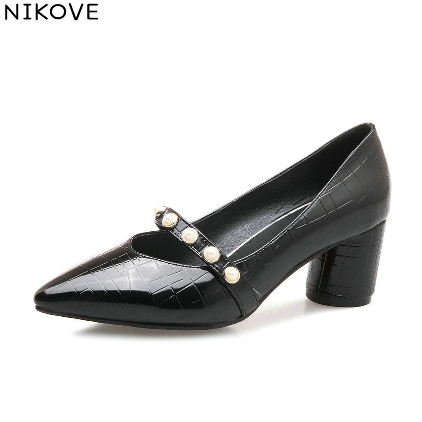 NIKOVE 2018 Women Pumps Shoes Square Heels Western Style Out Door PU High Heel Pointed Toe Handmade Pumps Women Shoes Size 34-43<br>