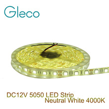 DC12V LED strip 5050 flexible light 60led/m,5m/lot Neutral White 4000K 5050 LED Strip Light(China)