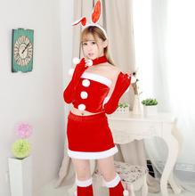 (top+skirt+Rabbit ears) New Christmas Show Cosplay Costume Sexy Fancy Bunny Rabbit Girl Uniform Game Uniforms Christmas Costumes