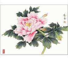 Embroidery Package Hot Sell Best Quality  Cross Stitch Kits Peony Pink Flower Free Shipping Hot Sell