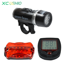 Bicycle 5 LED Mountain Bike Cycling Light and Speedometer Head and Rear Lamp Light Super Bicycle Accessories Set