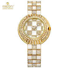 New Bling Bling Watch Ladies Luxury Brand Crystal Rhinestone Quartz Wrist Wacthes For Ladies Fashion Ladies Dress Watches(China)
