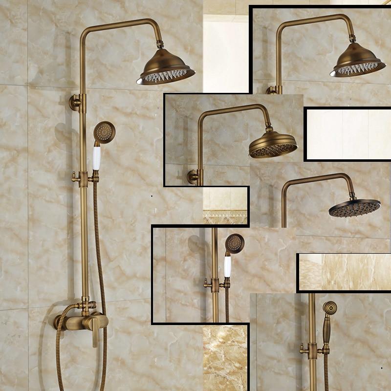 Bathroom Luxury Shower Faucet Mixer Taps Wall  Mount One Handle 8 Rainfall Shower Head + Handheld Shower<br><br>Aliexpress