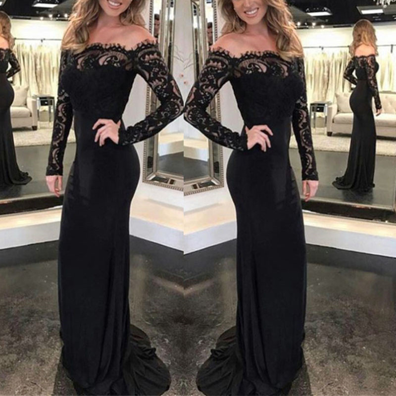 Fashion Lace Spliced Autumn Women Party Dress Sexy Slim Long Sleeve Elegant Long Maxi Dresses Women's Clothing S M L XL Xnxee 5