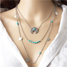 2017 Vintage Bohemia Style Gap Moon Pendant Necklace For Women Bijoux Collars Jewelry Exo Collar 2017 New Girl One Direction