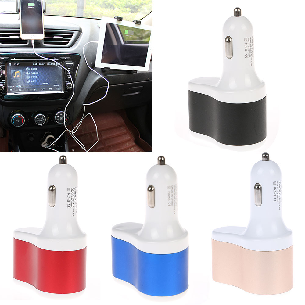 3In1 3.1A Dual USB Auto Car Cigarette Lighter Socket Splitter Charger Adapter(China)