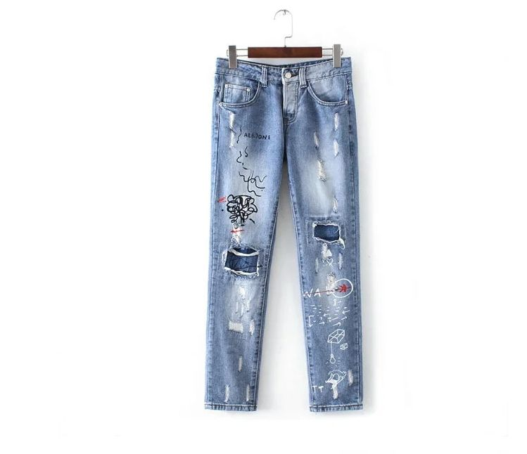 European autumn fashion women personality embroidery graffiti holes washed white jeans casual trousersОдежда и ак�е��уары<br><br><br>Aliexpress
