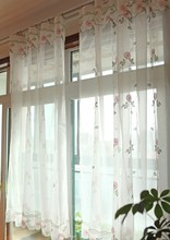 Fresh embroidered daisy living room french window Terri Wong yarn curtain  High quality translucidus voile curtain 175cm width