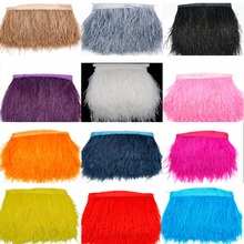 Hot Sale 1Meter/lot 8-10cm 12 colors Ostrich Feather Plumes Fringe trim Feather Boa Stripe for Party Clothing Accessories Craft(China)