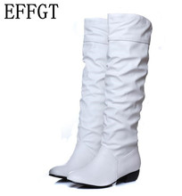 EFFGT Plus size 2017 new arrive Mid-Calf Women Boots Black White Brown flat heels half boots spring autumn snow boots H65(China)