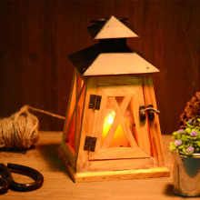 lantern candle holder Vintage Wood Candle Holders 23*12*12CM