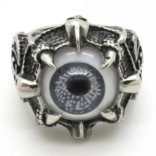 Personality Gothic Vintage Fleur De Lis Rings Jewelry, Stainless Steel Cool Mens Monster Claw Beautiful Grey Eyes Eyeball Ring(China)