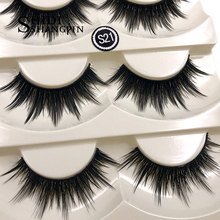 Top 5 Pairs Gear Type Long False Eyelashes Extension Fake Lashes Thick Black Stage Make Up Eye Tool for Beauty(China)