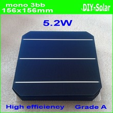 5.21W A++ 156mm monocrystalline Mono solar cell 6x6+enough PV Ribbon(50m Tab Wire+5m Busbar)+1pc flux pen for DIY 260w PV Panel